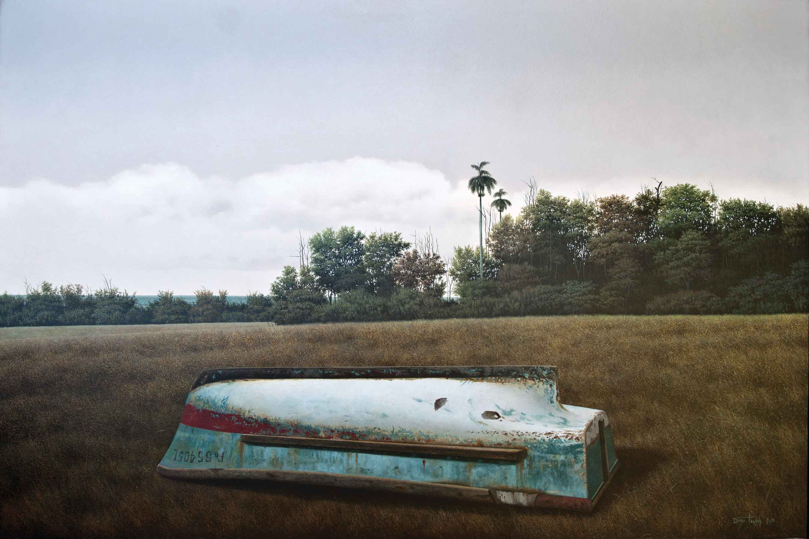 "Diego Torres, Transportation, 2011, oil on canvas, 39"" x 59"""