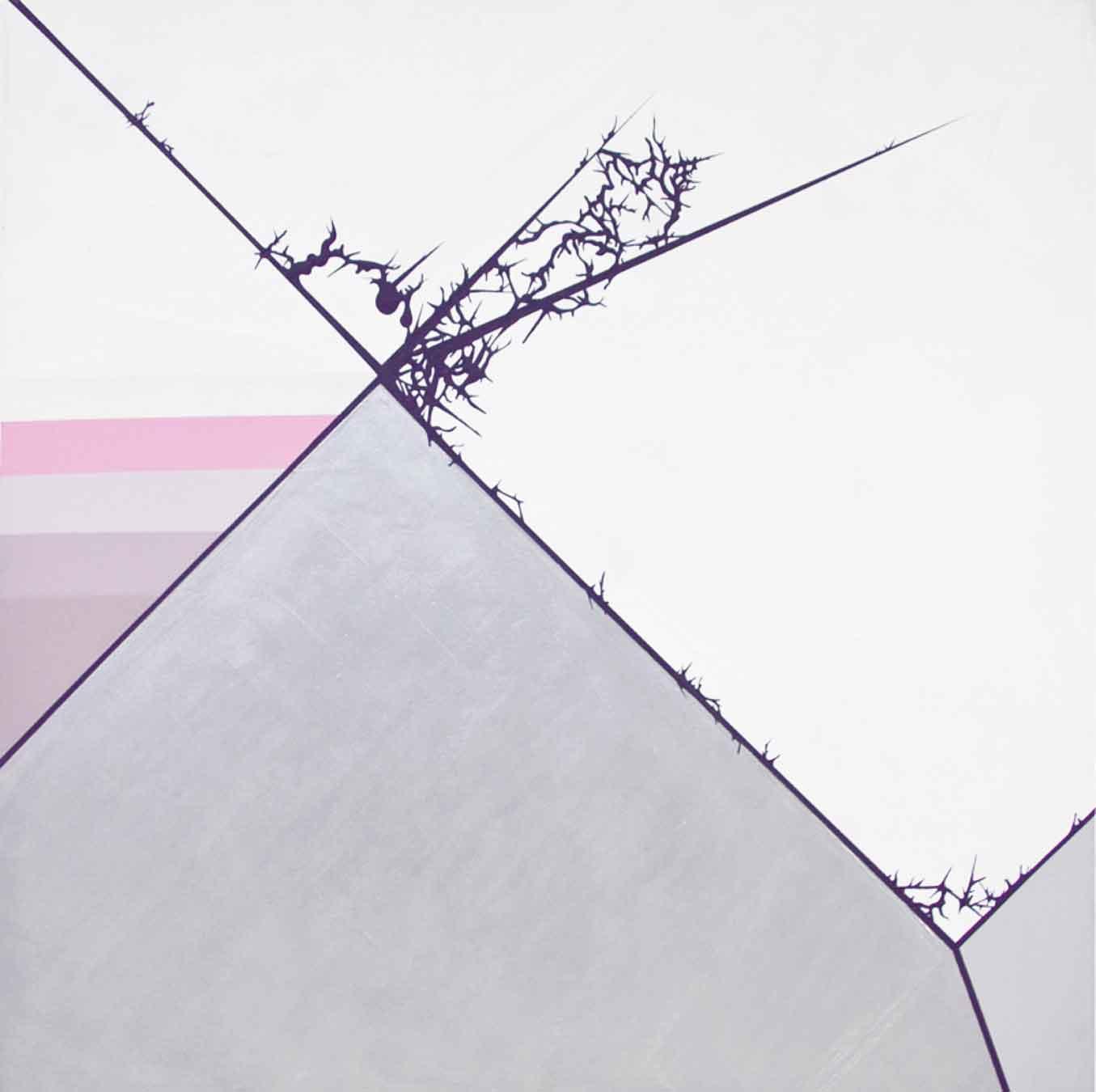 "Julie Davidow, Diagram #27 (Falcon Origami/Sarah Morris), 2010, gesso, acrylic, latex enamel, transference pigment, chrome paint on canvas, 48""x 48."" © Julie Davidow. Photo credit: Brian Burkhardt."
