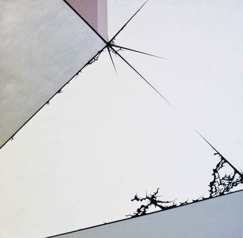 "Julie Davidow, Diagram #31 (Milwaukee Art Museum/ Calatrava), 2011, gesso, acrylic, latex enamel, transference pigment, chrome paint on canvas, 48"" x 48."" © Julie Davidow.  Photo Credit: Brian Burkhardt."