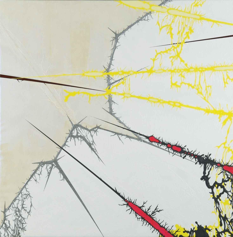 "Julie Davidow, The New Strain #12(Ariel/Julie Mehretu), 2009, gesso, acrylic, latex enamel, transference pigment, chrome paint on canvas, 48"" x48."" © Julie Davidow. Photo credit: Juan E. Cabrera"