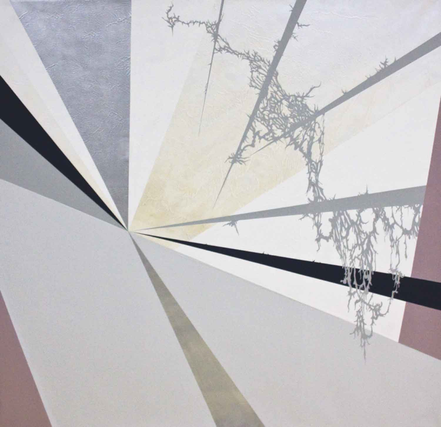 "Julie Davidow, Diagram #29 (Denver Art Museum/ Libeskind/ Interior stairwell), 2011, gesso, acrylic, latex enamel, transference pigment, chrome paint on canvas, 64"" x 64."" © Julie Davidow. Photo credit: Brian Burkhardt."