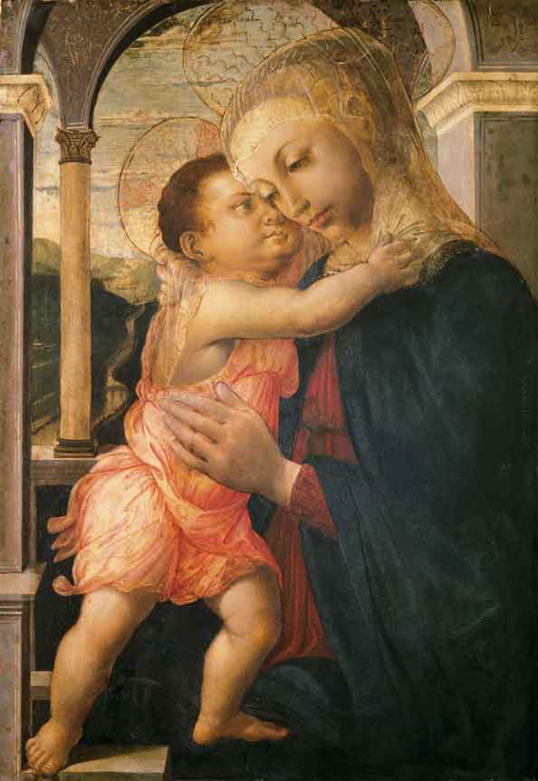 Alessandro Di Mariano Filipepi, called Sandro Botticelli (and restorer from 19th century), Madonna with Child (Madonna della loggia), circa 1466-1467, oil on panel. Collection of the Uffizi Gallery, Florence, Italy.