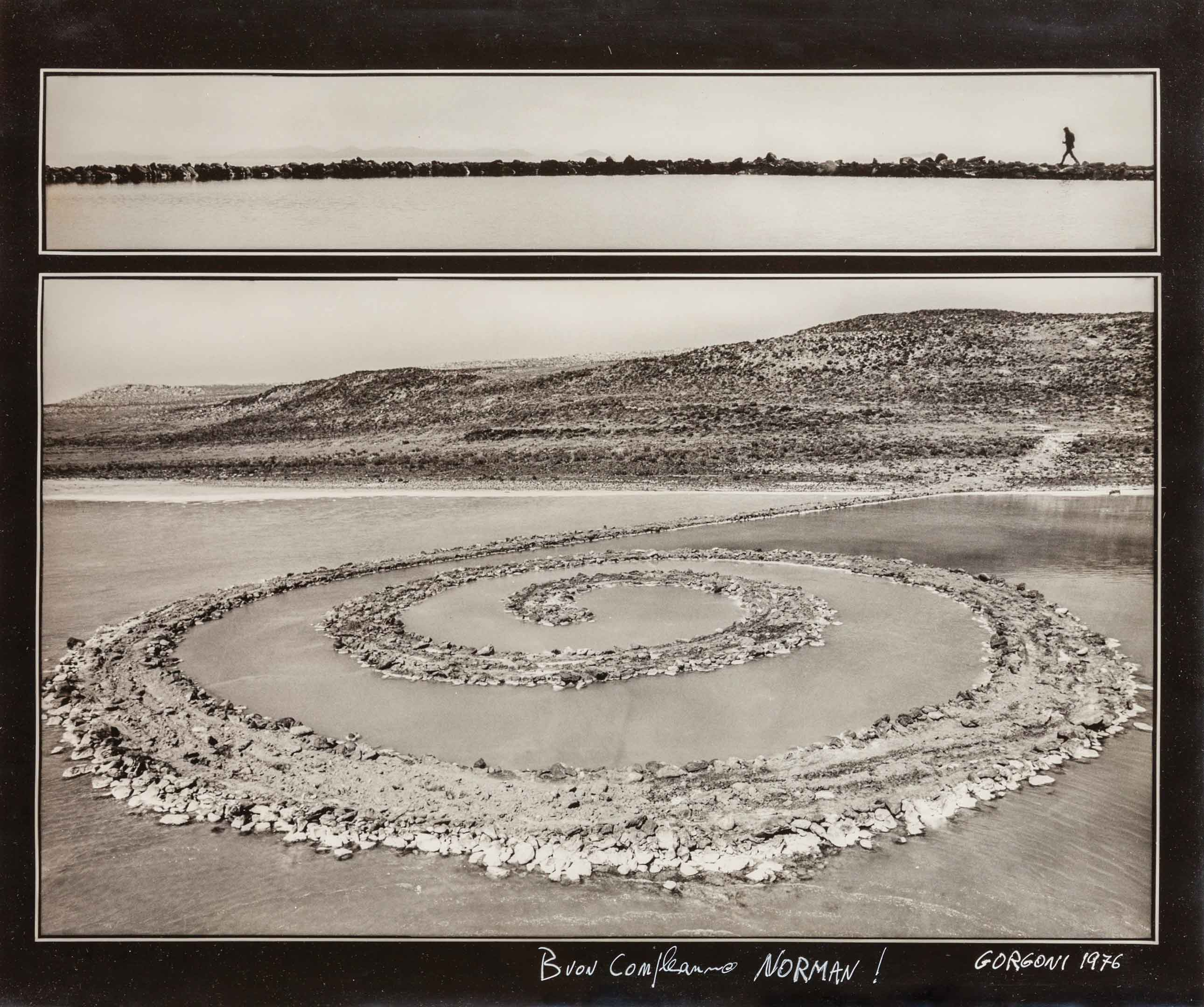 Gorgoni Gianfranco, Robert Smithson's Spiral Jetty, 1976, silver gelatin print. MOCA Permanent Collection