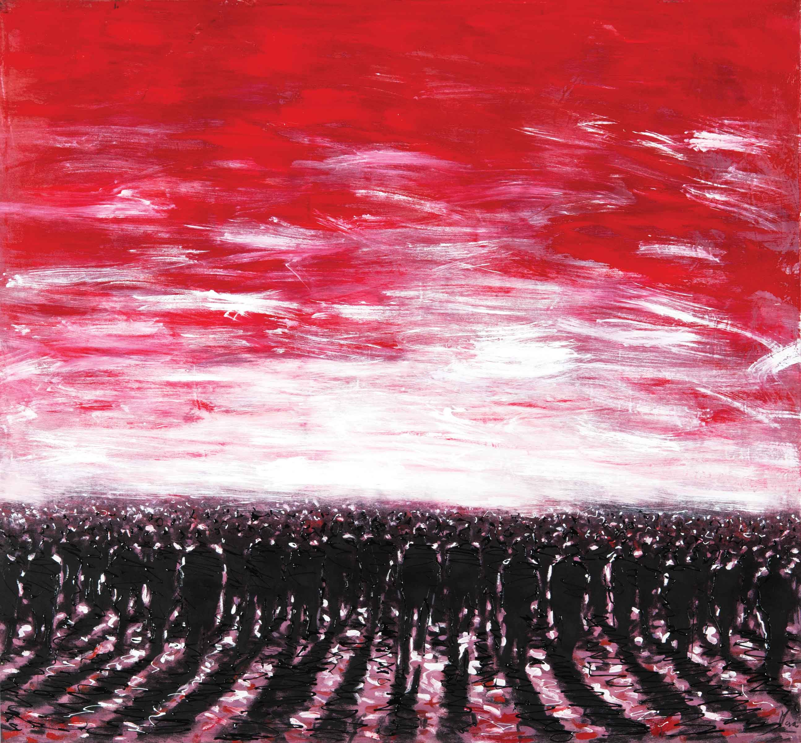 "Fabio Mesa, Humanos optimistas I (Optimistic Beings), 2010, mixed media on canvas, 51"" x 55"""