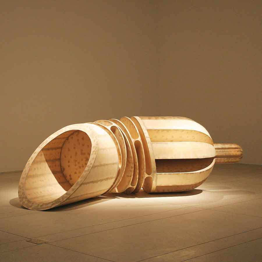 "Erik Levine, Hand Held, 1997, Plywood, 52"" x 161"" x 64"". Gift of the Artist and Analia Segal. Collection Tampa Museum of Art."