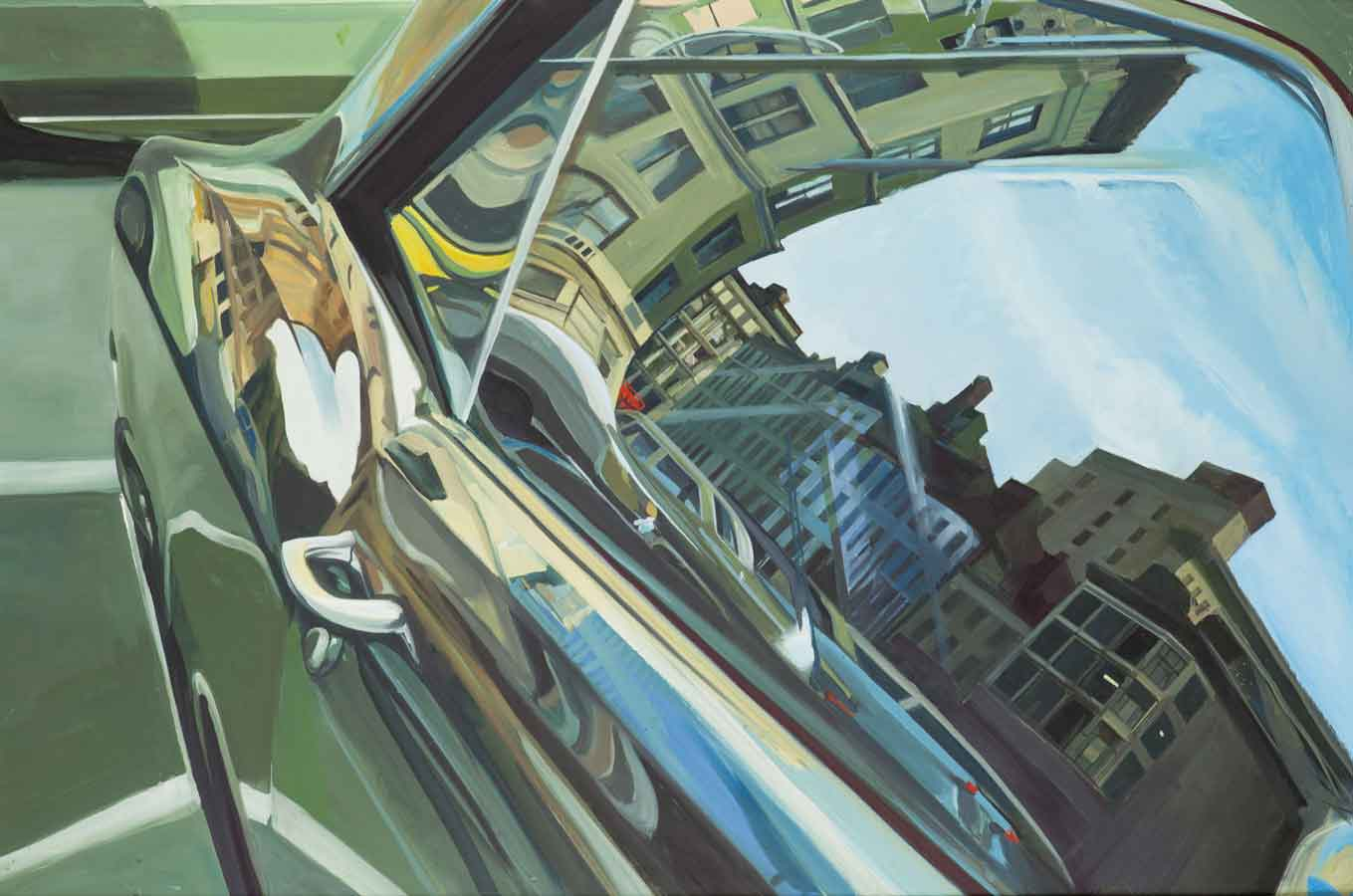 Richard Estes, Untitled (Car Reflection), 1967, oil on board. © Richard Estes, courtesy Marlborough Gallery, New York.