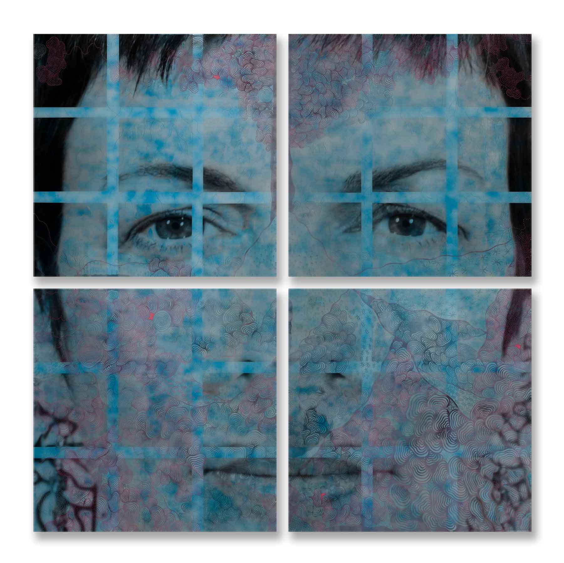 "Luisa Mesa, Trapped In Thought, 2010, digital image, enamel, acrylic, resin on wood, 84"" x 84"" x 4.""  All images are courtesy of the artist."