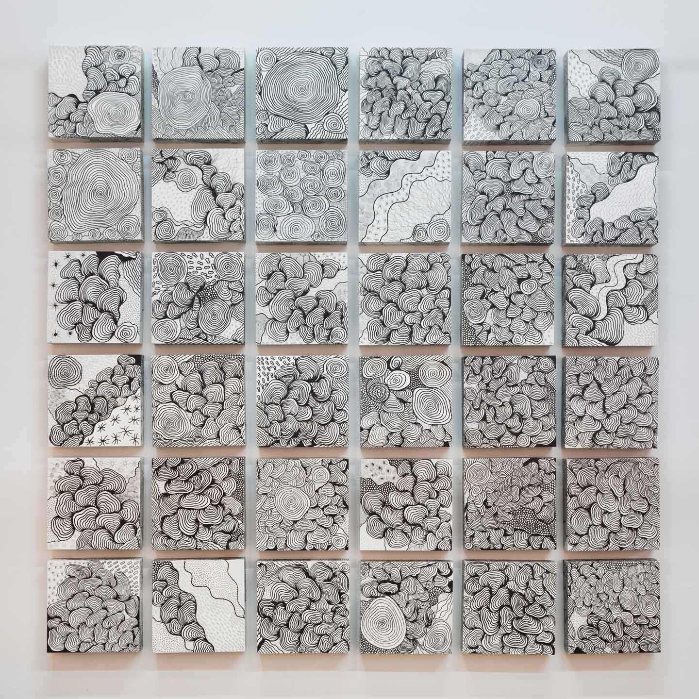 "Formation 1, 2009, enamel and acrylic on wood panels, 84"" x 84"" x 4"""