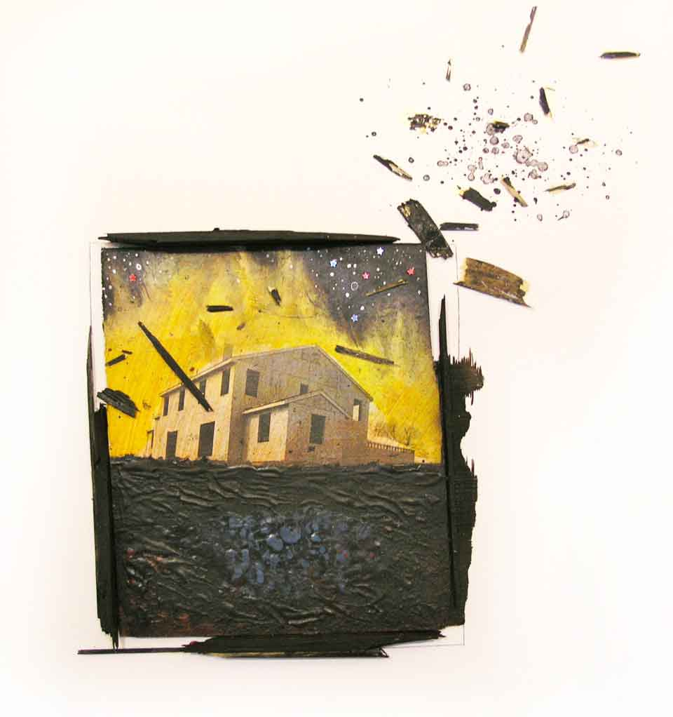 "José Pacheco Silva, Burning Home, 2011, black and white photograph, Middetown CT, found wood, water based paint on plywood, 18 1/2"" x 18 ½"""
