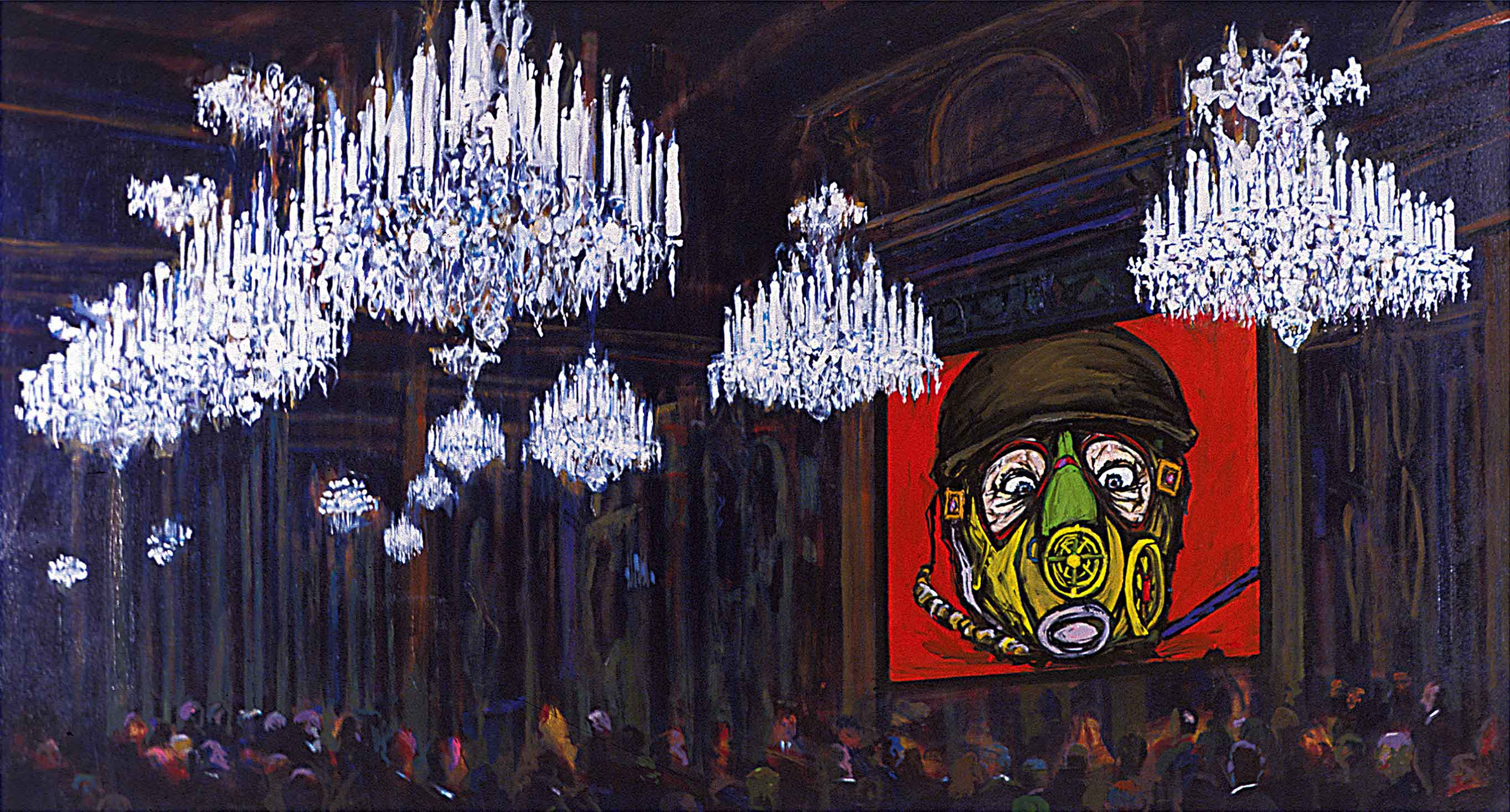 "Arnold Mesches, Coming Attractions 2, 2005, acrylic on canvas, 60"" x 110"""