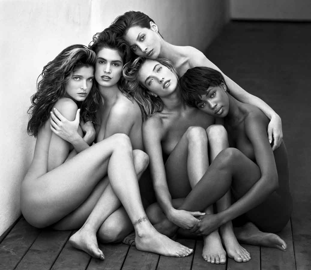Herb Ritts, Stephanie, Cindy, Christy, Tatjana, Naomi, Hollywood, 1989, gelatin silver print. Courtesy of The J. Paul Getty Museum, Los Angeles, Gift of Herb Ritts Foundation. © Herb Ritts Foundation.