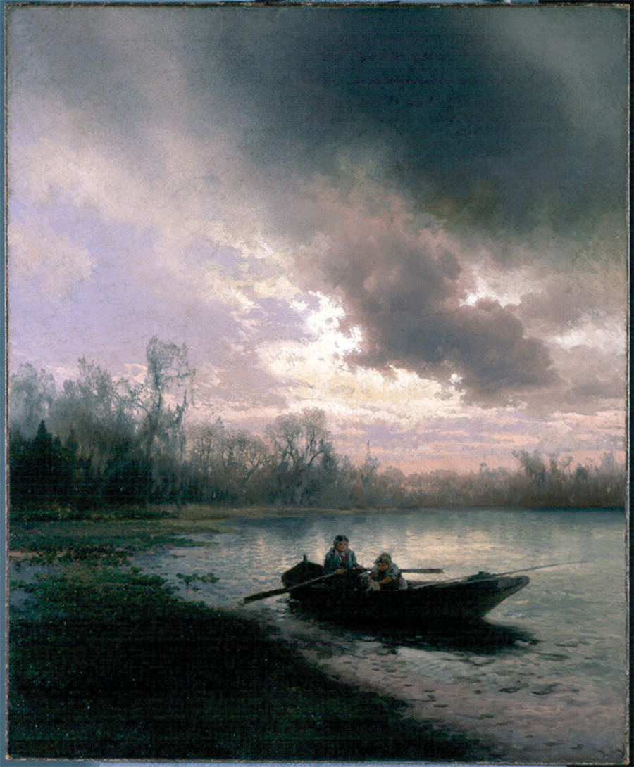 """Herman Herzog, On Alachua Lake, c. 1890, oil on canvas, 39"""" x 31"""". On loan from a private collection. Courtesy of Samuel P. Harn Museum of Art."""