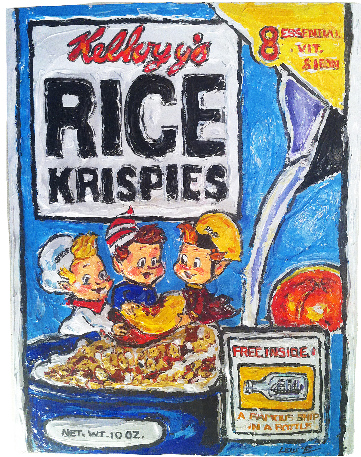 Leslie Lew, Rice Krispies, Sculpted Acrylic Monotype on Canvas, 12 x 9 x 1 3/4 inches, 2013, Courtesy of ArtSpace/Virginia Miller Galleries, Coral Gables (Miami), Florida