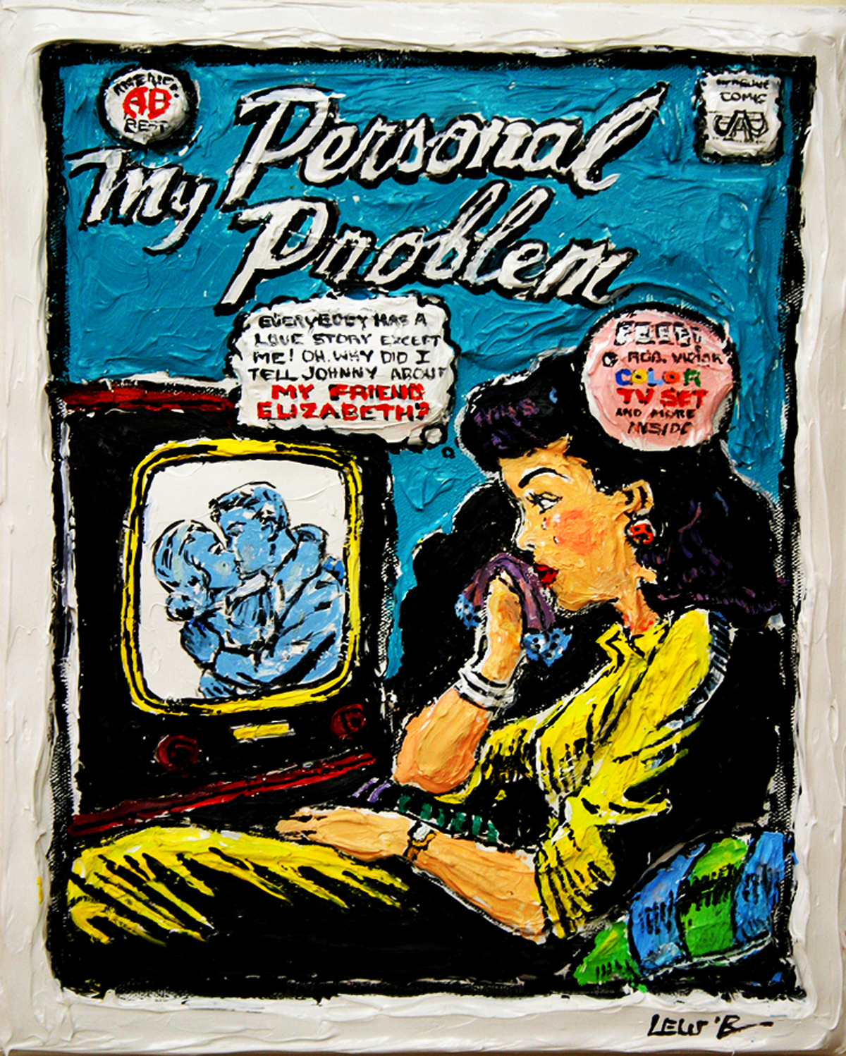 Leslie Lew, Personal Problems--Dear Abby, Sculpted Oil on Canvas, 20 x 16 inches, 2012, Courtesy of ArtSpace/Virginia Miller Galleries, Coral Gables (Miami), Florida