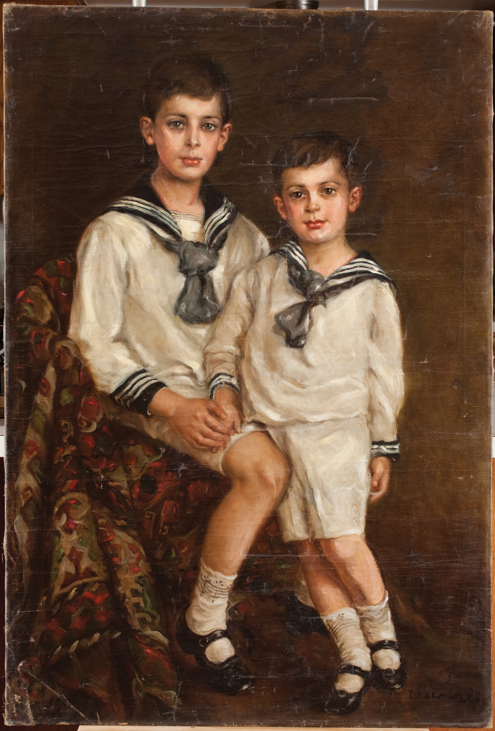 Elmyr de Hory (Hungary, 1906-1976), Portrait of Elmyr and his brother Stephan, ca. 1950, oil on canvas, in the style of Philip de Laszlo (Hungarian, 1869-1937). Collection of Mark Forgy. Photo: Robert Fogt.