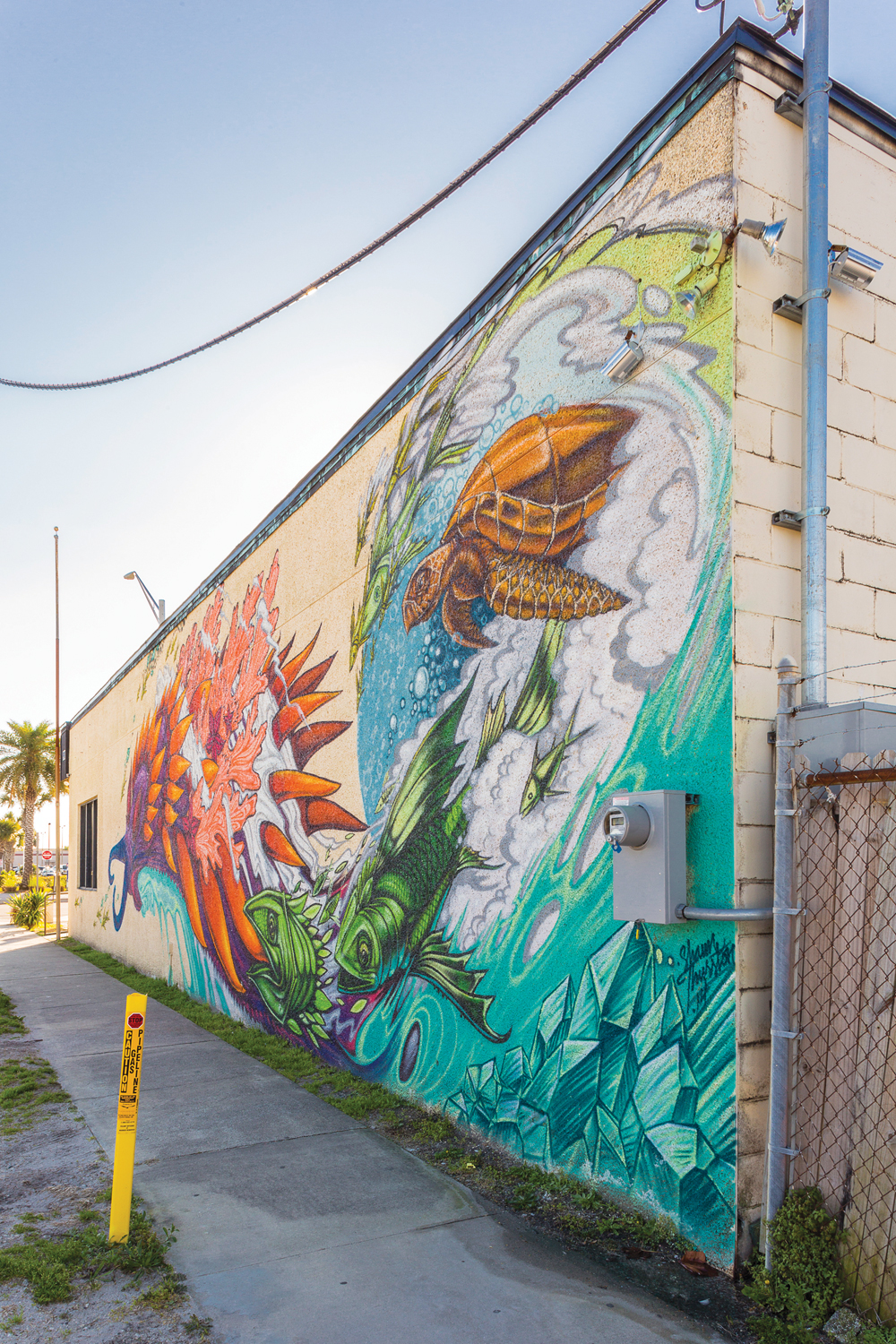 Shaun Thurston, Nudibranch Luck Dragon, 2013. Green Room Brewing exterior, 228 Third Street North, Jacksonville Beach, Florida.