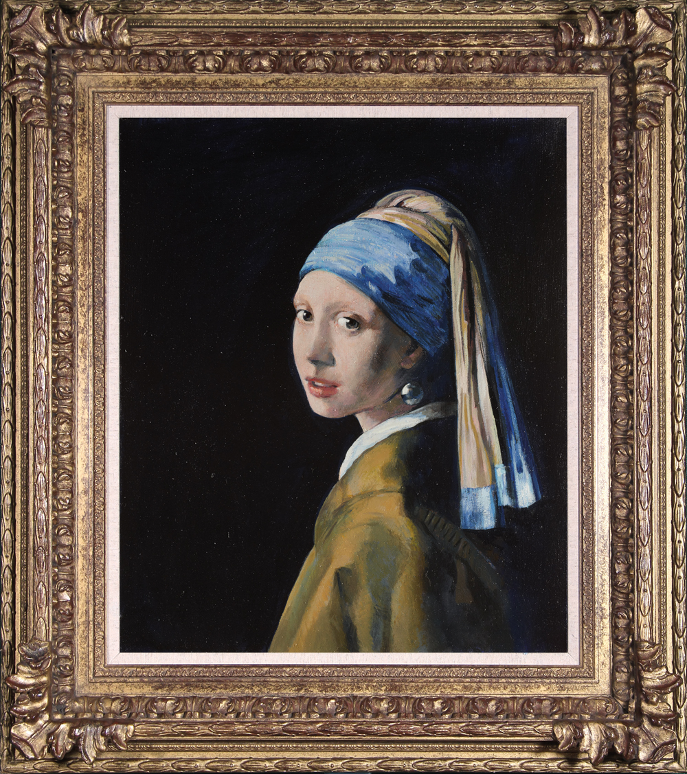 John Myatt (British, b. 1945), Girl with a Pearl Earring, 2012, oil on canvas, in the style of Johannes Vermeer (Dutch, 1632-1675). Washington Green Fine Art & Castle Galleries, United Kingdom. Image © Washington Green Fine Art.