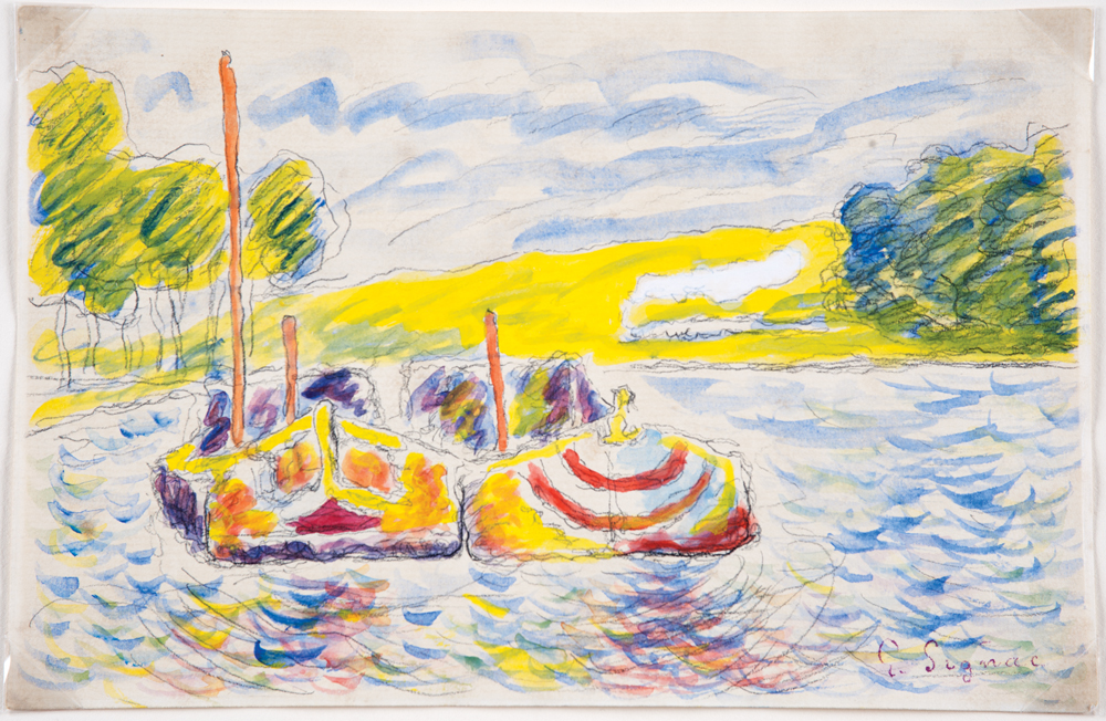 Mark Landis (American, b. 1955), Untitled, date unknown, watercolor on paper, in the style of Paul Signac (French, 1863-1935). Property of Oklahoma City Museum of Art. Photo: Shannon Kolvitz.
