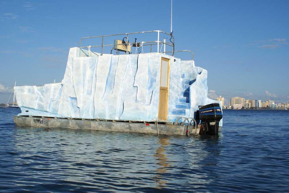 Rick Herzog, Iceberg-Flotilla, 2012, 22-foot pontoon boat, fiberglass.