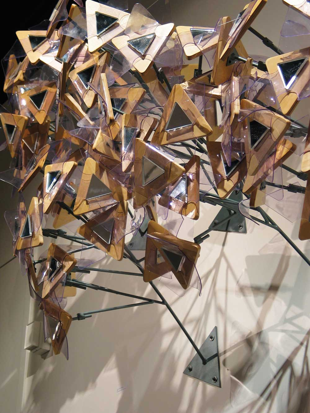 Rick Herzog, Flowering Ivy Shoots (detail), 2006, acrylic mirrors, wood, vinyl, steel.