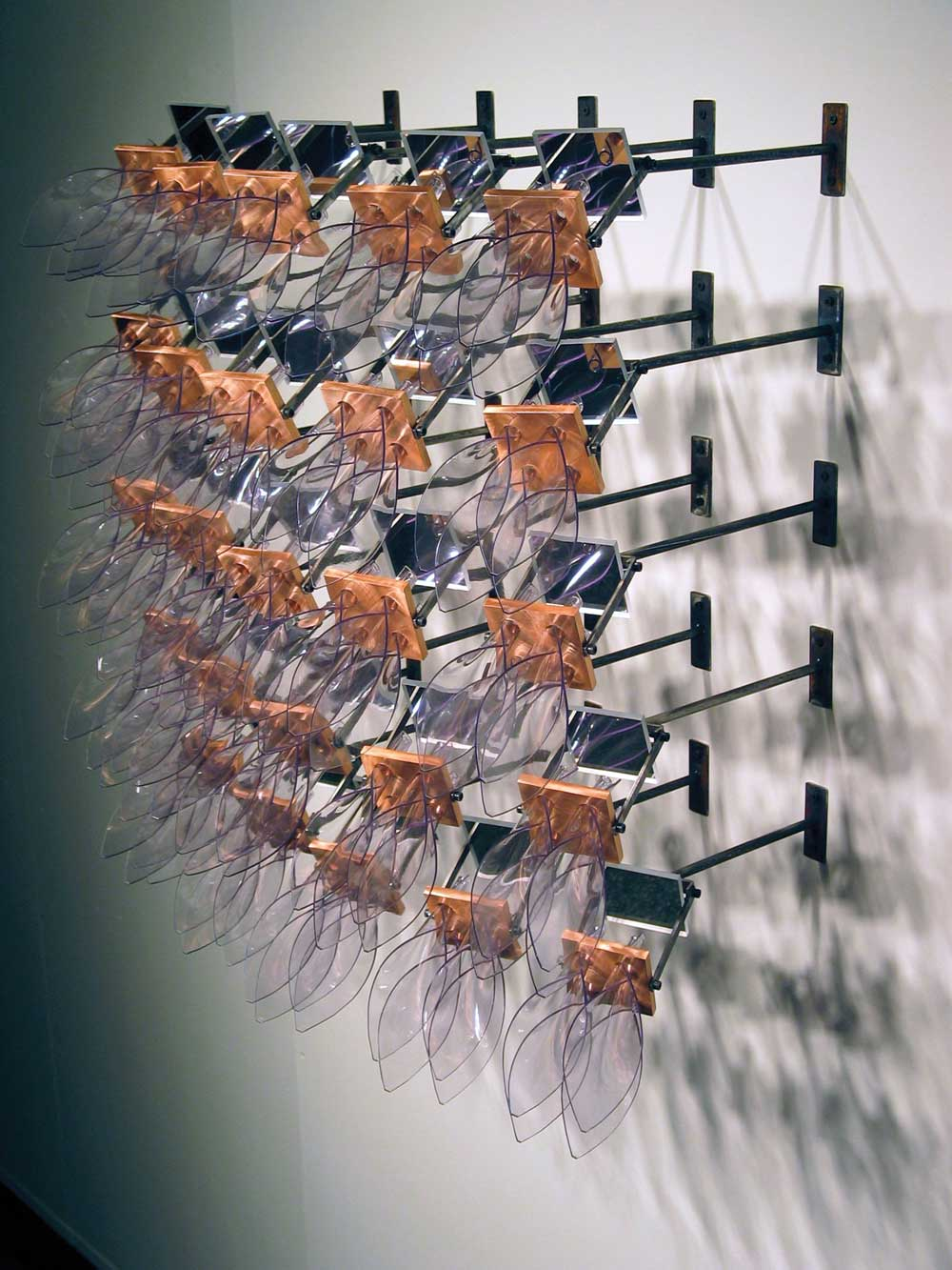 Rick Herzog, As Simple as a Flower, 2005, vinyl, copper, acrylic mirrors, steel.