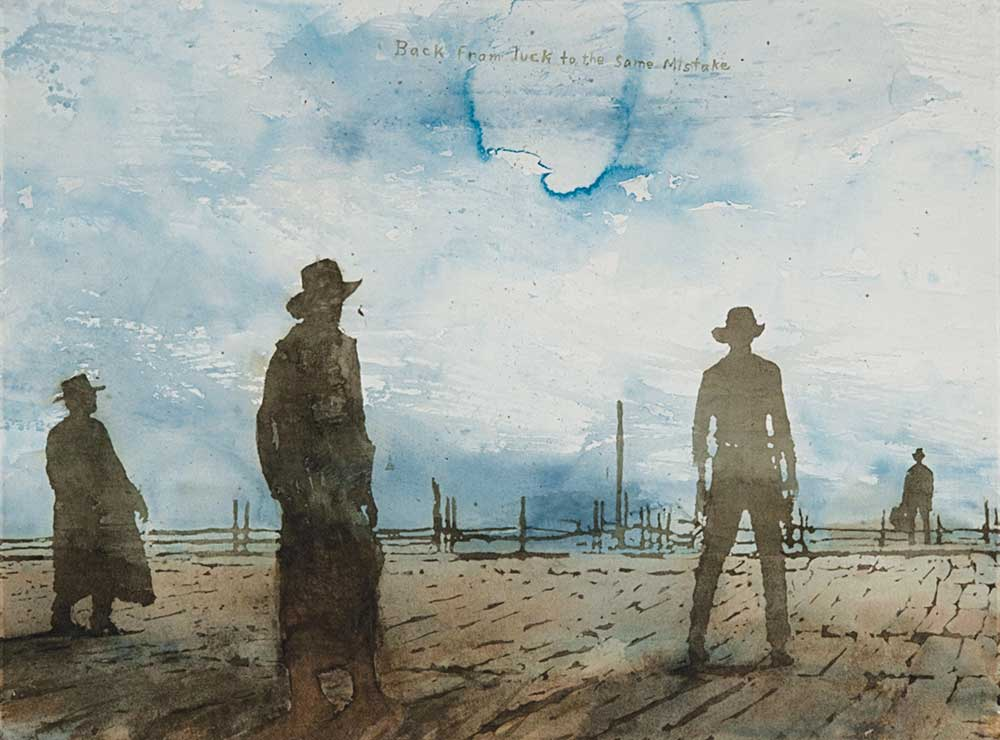 """David Rathman, Back from Luck, 2011, from """"True West"""" series, watercolor on paper, 30"""" x 40."""" Courtesy of the artist."""