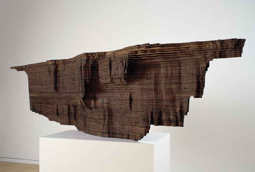 "Maya Lin, Red Sea (Bodies of Water series), 2006, Baltic birch plywood, edition 2/3, sculpture: 21"" x 92 ½"" x 17,""  base: 31"" x 30"" x 18."""