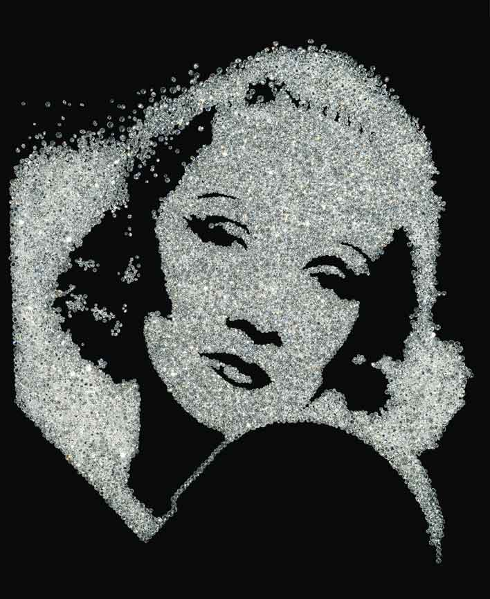 Vik Muniz, Marlene Dietrich (from Pictures of Diamonds), 2004, Art © Vik Muniz | Licensed by VAGA.
