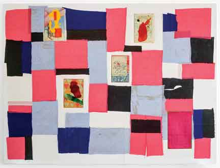 "Carlos Vega, Siete Partidas, 2015, linen, acrylic and collage on wood stretcher, 70"" x 90."" © Carlos Vega. Courtesy of the artist and Jack Shainman Gallery, New York."