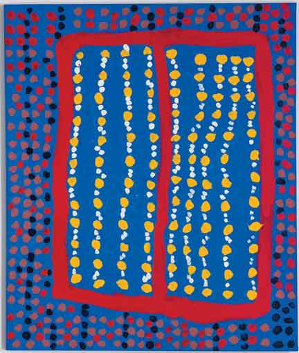 "Midpul (Prince of Wales). Larrakia. Born 1938. Died 2002. Body Marks, 1999, synthetic polymer paint on canvas, 50"" x 41."" © The artist's estate and Karen Brown Gallery, Darwin."