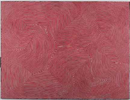 "Warlimpirrnga Tjapaltjarri. Pintupi. Born c.1958. Marawa, 2012, synthetic polymer paint on canvas, 35 7/8"" x 42 1/8."" © the artist licensed by Aboriginal Artists Agency Ltd, courtesy Papunya Tula Artists."