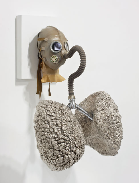 Roger Chamieh, Daddy's Girl, 2012, chrome-plate, IPhone, gas mask, single looped video, plywood, variable dimensions.