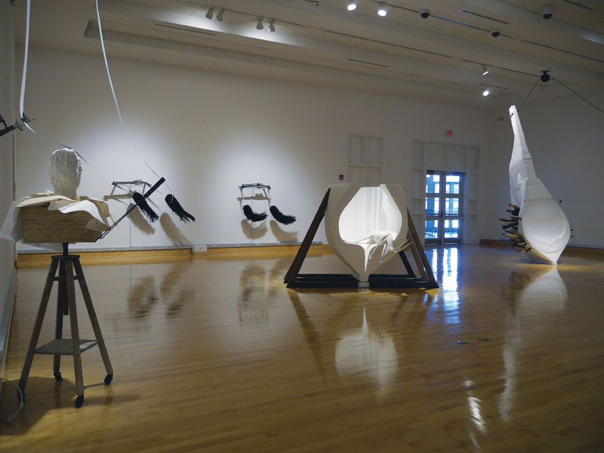 """Borborygmus: Or Beware the 3-Fingered Mouse Without a Soul"" at Florida Gulf Coast University Main Gallery, installation view."