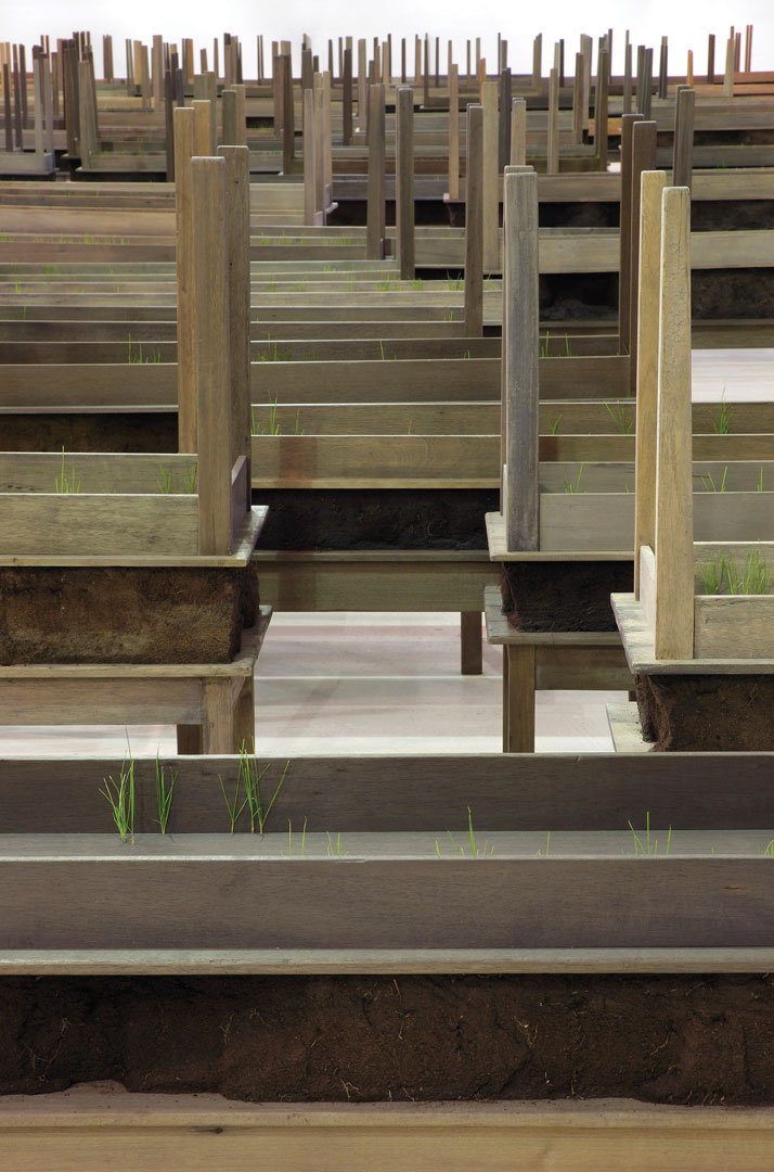 "Doris Salcedo, Plegaria Muda (detail), 2008–10, wood, concrete, earth, and grass, one hundred and sixty-six parts, each: 64-5/8"" x 84-1/2"" x 24,"" overall dimensions variable. Installation view, CAM–Fundação Calouste Gulbenkian, Lisbon, 2011. Inhotim Collection, Brazil. Photo: Patrizia Tocci."