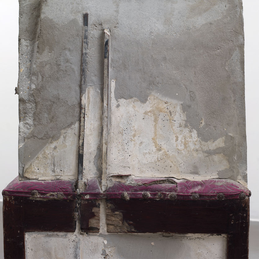 "Doris Salcedo, Untitled (detail), 1995, wooden chair, concrete, steel and upholstery, 38 ½"" x 16 ¾"" x 22 ½"". Courtesy Perez Art Museum Miami."