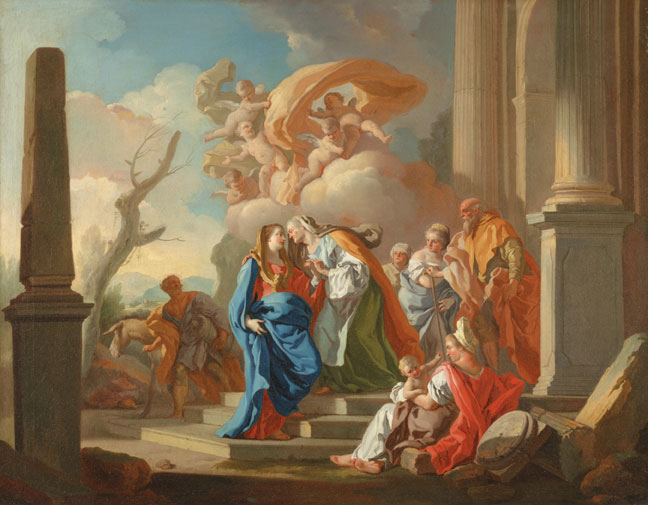 "Francesco de Mura, The Visitation, ca. 1752, oil on canvas, 37"" × 46."" Cornell Fine Arts Museum, gift of George H. Sullivan in memory of his parents."