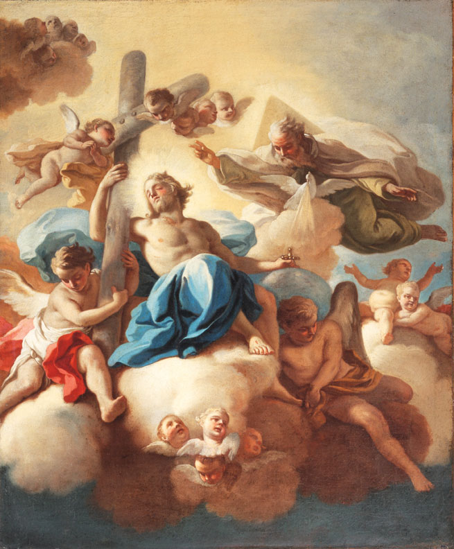 "Francesco de Mura, The Trinity, ca. 1763, oil on canvas, 30"" × 25."" Collection of Federico Castelluccio."