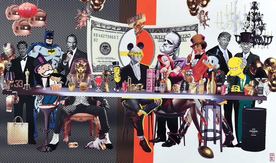 "Raúl Cardozo, La última cena (The Last Supper), 2015, mixed media on board, 51"" x 79"" x 4."""