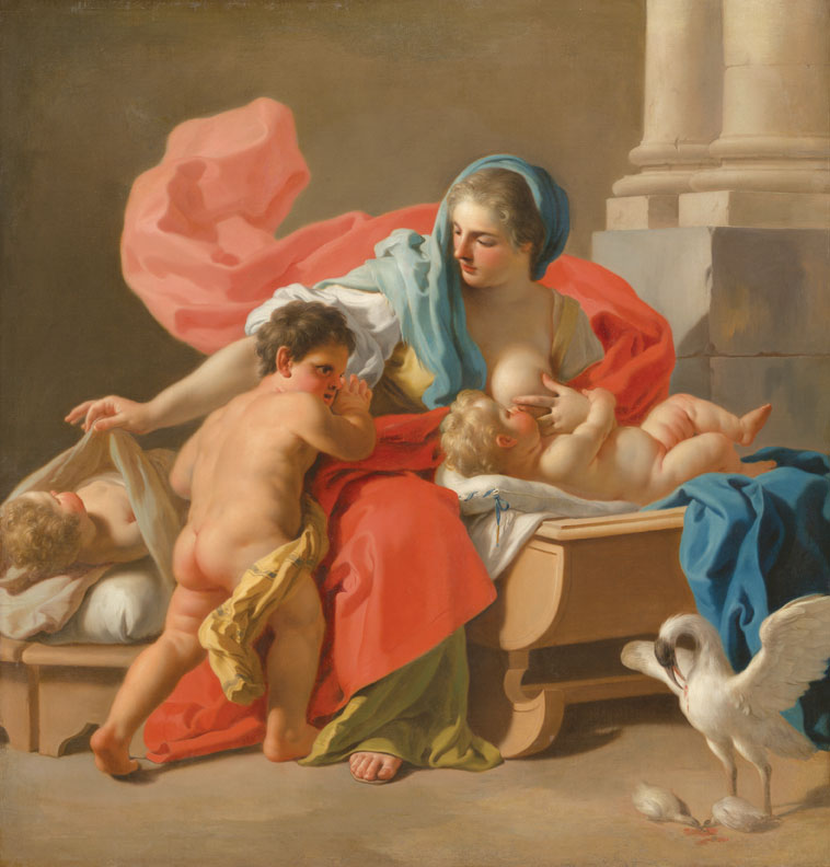 "Francesco de Mura, Allegory of Charity or Allegory of Maternal Love, 1743–44, oil on canvas, 54 15/16"" x 53."" The Art Institute of Chicago, Preston O. Morton Memorial Fund."