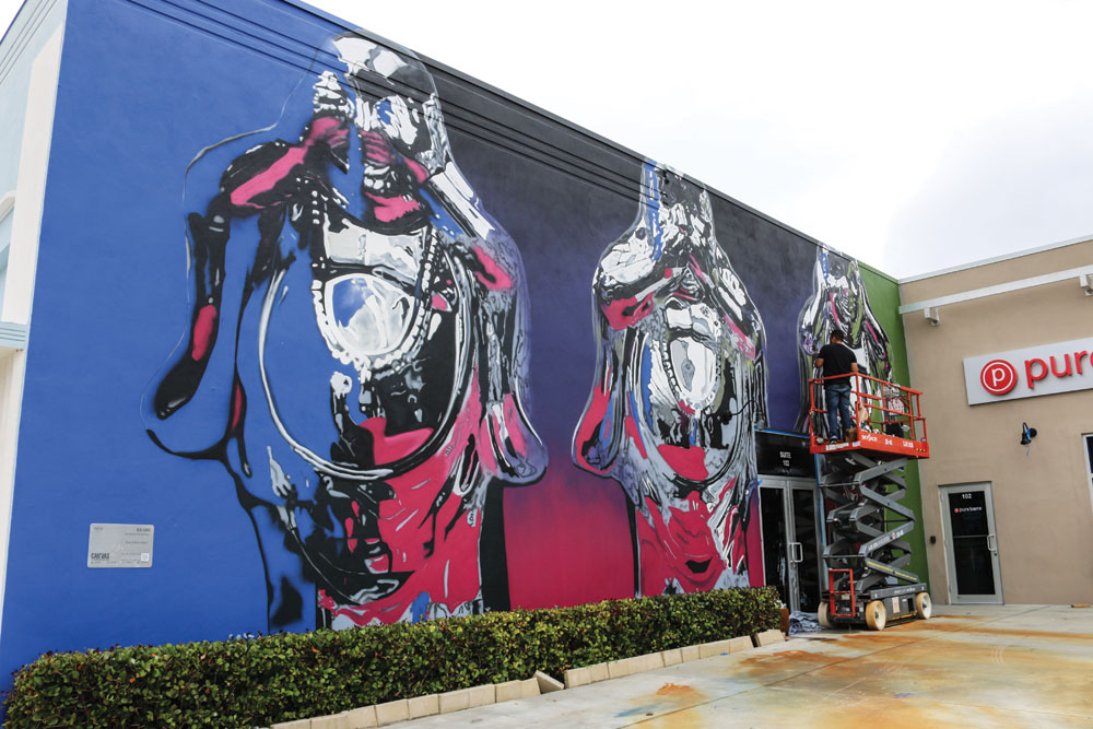 Bik Ismo, (Bik), See No Evil, Speak No Evil, Hear No Evil, mural, 501 Fern St., West Palm Beach, FL, Canvas Outdoor Museum 2015. Photo: Adrian Wilcox Photography.