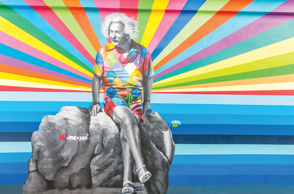 Eduardo Kobra, Einstein's Theory of Love, mural, Subculture Coffeehouse patio wall, 509 Clematis St., West Palm Beach, FL, Canvas Outdoor Museum 2015. Photo: Adrian Wilcox Photography.