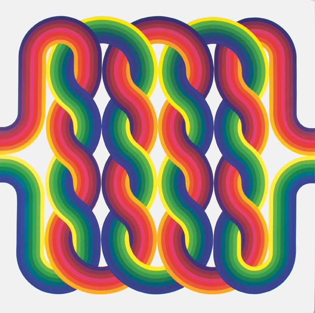 """Julio Le Parc, La Longue Marché, Étape n° 7 (The Long March, Step n° 7), 1974, acrylic on canvas, 78 ¾"""" x 78 ¾"""". Courtesy the artist. Photo: © Julio Le Parc / Atelier Le Parc."""