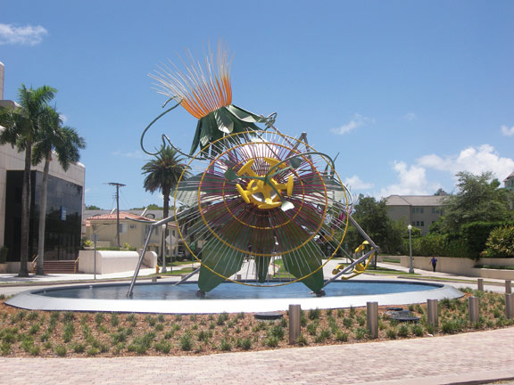 An sculpture designed by New York artist Alice Aycock is located at the traffic circle on Segovia Street and Biltmore Way in Coral Gables, FL.