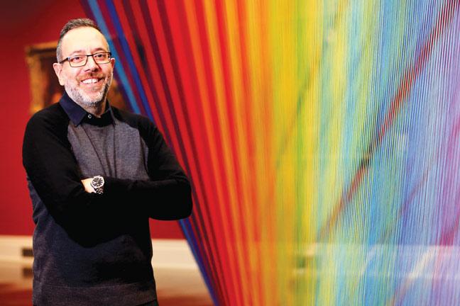 Gabriel Dawe, Plexus No. 35, 2016, site-specific installation at the Toledo Museum of Art, Toledo, OH. Photo: Andrew Weber.