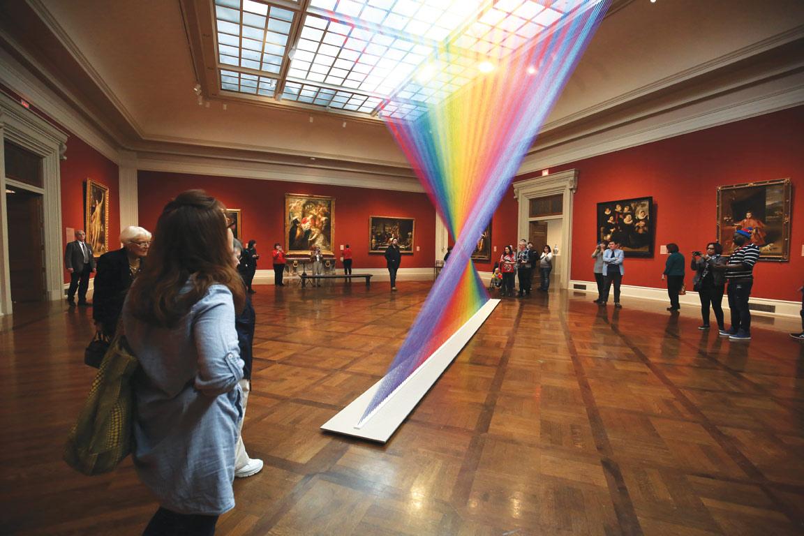 Gabriel Dawe, Plexus No. 35, 2016, multicolored thread, site-specific installation at the Toledo Museum of Art, Toledo, OH. Photo: Andrew Weber.