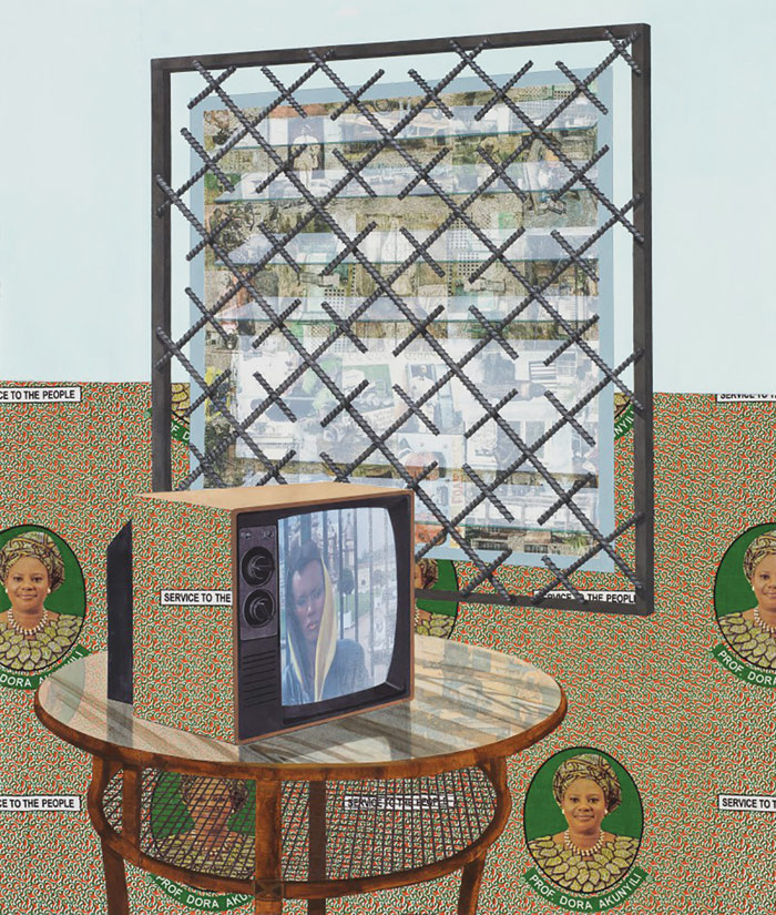"Njideka Akunyili Crosby, See Through, 2016, acrylic, transfers, colored pencil, charcoal, collage and commemorative fabric on paper, 61 ¼"" x 52."" Collection Pérez Art Museum Miami, museum purchase with funds provided by PAMM's Collectors Council, in honor of Jack Tilton."