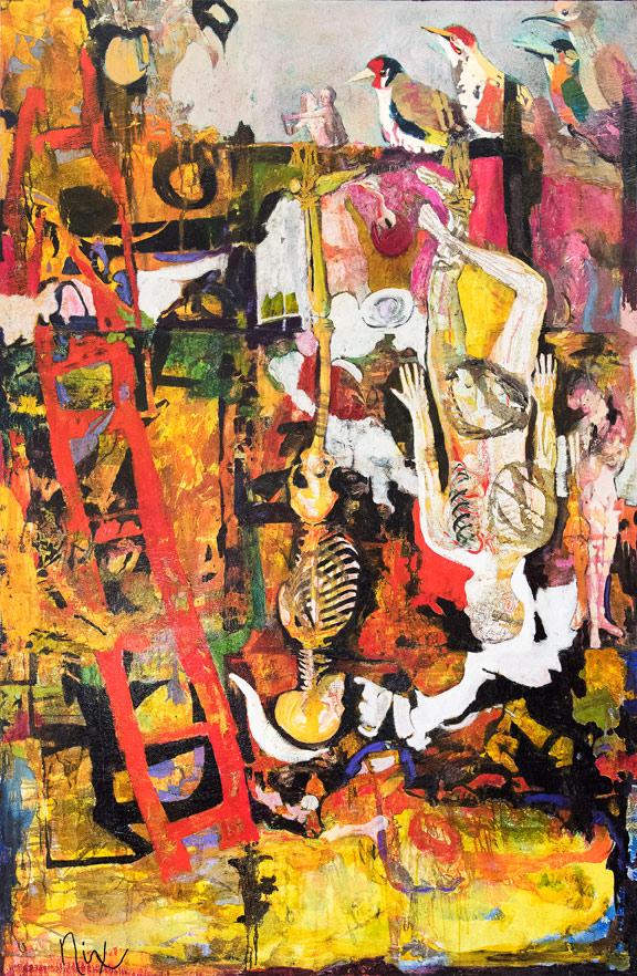 Patricia Nix, The Hanged Man (Tarot), 2001, mixed media on canvas. Courtesy of the artist.
