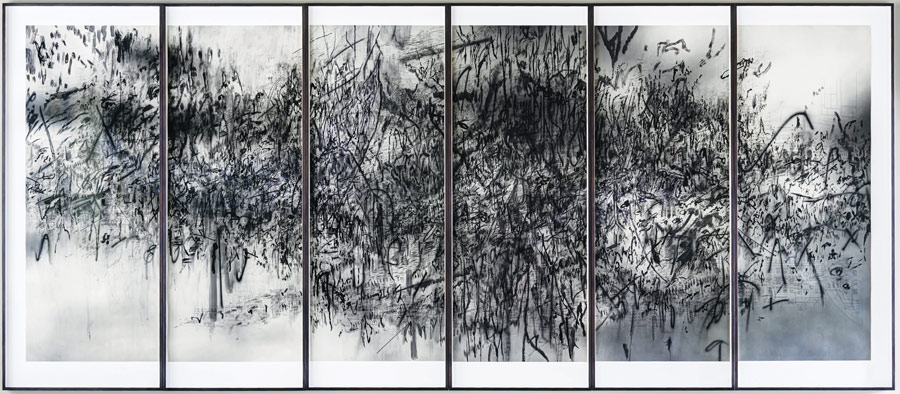 Julie Mehretu (b. 1970), Epigraph, Damascus, 2016, photogravure, sugar lift aquatint, spit bite aquatint, open bite on Hahnemühle Bütten 350 gr. The Alfond Collection of Contemporary Art, Cornell Fine Arts Museum, Rollins College © 2017 Julie Mehretu. Courtesy of the artist.