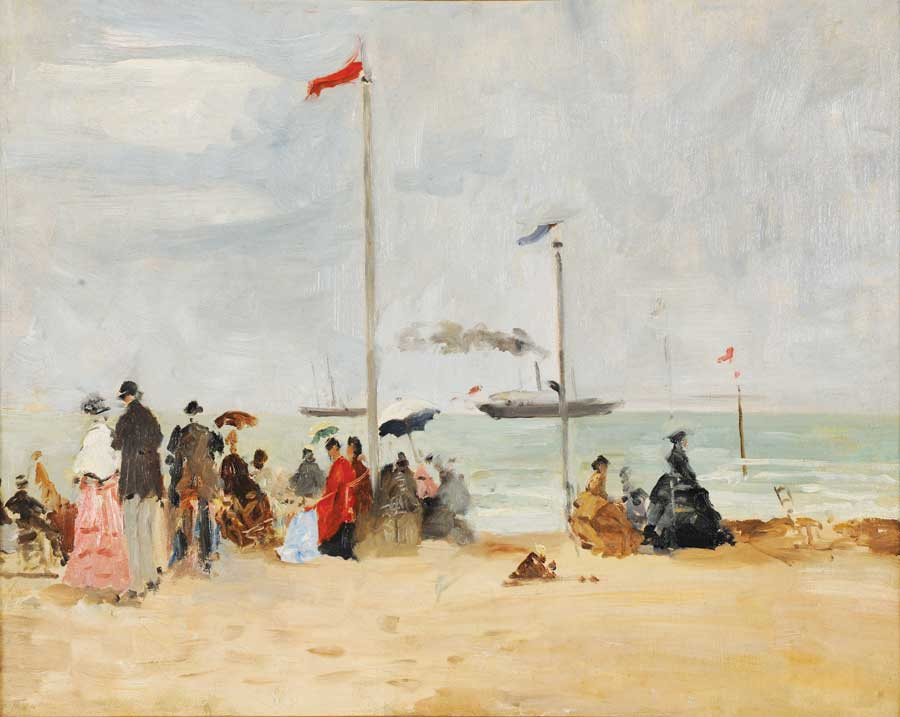 Eugène Boudin (French, 1824–1898), Su la plage de Trouville, undated, oil on canvas. Musée des Beaux-Arts, Reims.