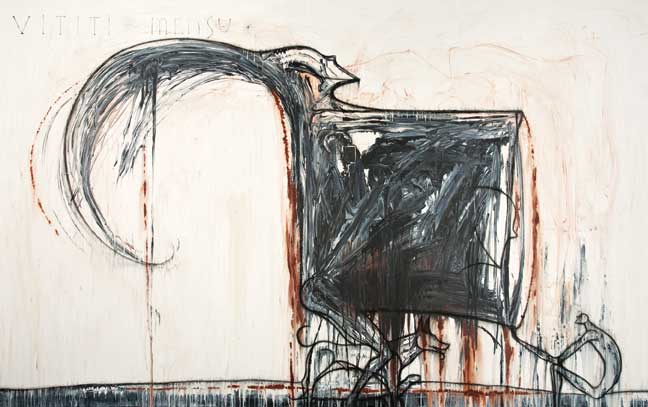 "José Bedia, Vititi Mensu, 2006, acrylic, charcoal on canvas, 52"" x 98."""
